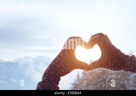 heart with hands, love winter concept - Stock Photo