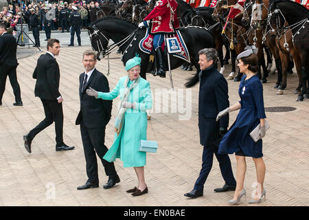 Copenhagen, Denmark, April16th, 2015. H. M. Queen Margrethe (2nd, L) at Copenhagen City Hall Square Hall where her - Stock Photo