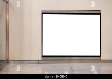 horizontal blank billboard on the wall in metro