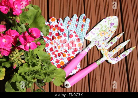 Pink geranium flowering plant with garden tools - Stock Photo