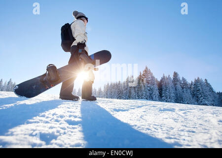 Snowboarding in winter - Stock Photo