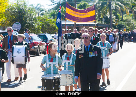 Sydney, Australia. 25th Apr, 2015. Centenary ANZAC day remembrance service and march on 25th april Palm beach Sydney - Stock Photo