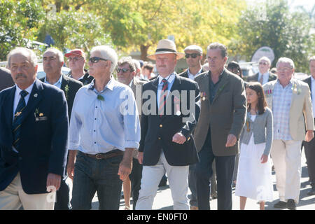 Sydney, Australia. 25th Apr, 2015. Centenary ANZAC day remembrance service and march on 25th april at Palm beach - Stock Photo