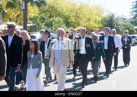 Sydney, Australia. 25th Apr, 2015. Centenary ANZAC day remembrance service and march at Palm beach Sydney on 25th - Stock Photo
