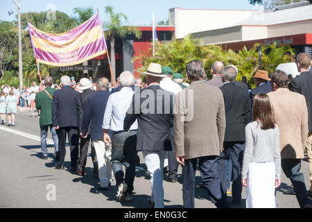 Sydney, Australia. 25th Apr, 2015. Centenary ANZAC day remembrance service and march palm beach sydney on 25th april - Stock Photo