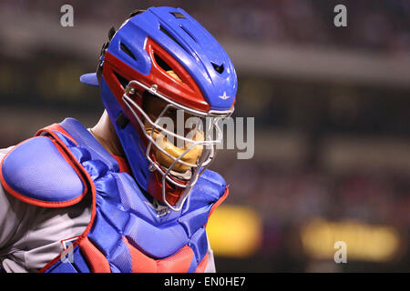 April 24, 2015: Texas Rangers catcher Carlos Corporan #3 in the game between the Texas Rangers and Los Angeles Angels - Stock Photo