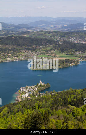 View From Observation Tower Pyramidenkogel To Lake Woerth In Spring - Stock Photo