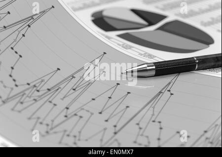 financial chart on table of data - Stock Photo