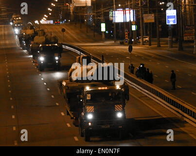 Moscow, Russia. 25th Apr, 2015. Tanks sent from Alabino testing range to Moscow to take part in the Victory Day - Stock Photo