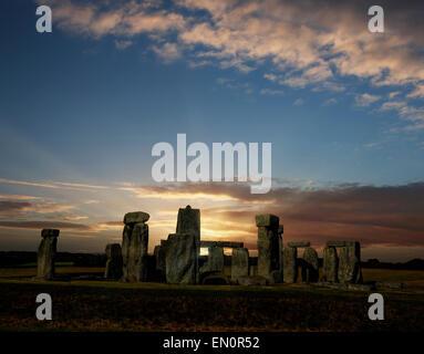 Stonehenge with summer solstice sunrise - Stock Photo