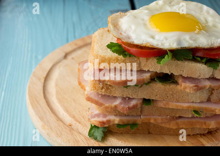 Sandwich with smoked pork, tomato and fried egg horizontal - Stock Photo