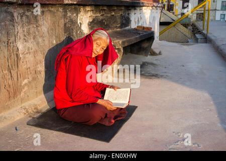 Pilgrims in the stupa of Boudhanath, Kathmandu, Nepal, Asia - Stock Photo