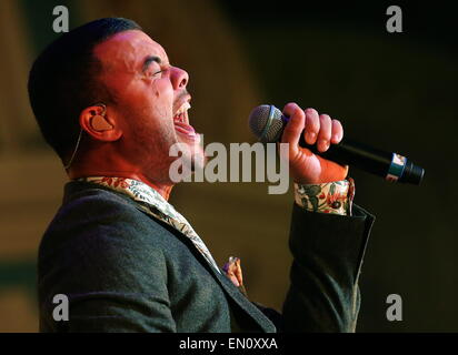 Moscow, Russia. 25th Apr, 2015. Guy Sebastian, who is to represent Australia at the 2015 Eurovision song contest, - Stock Photo