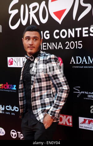 Moscow, Russia. 25th Apr, 2015. Nadav Guedj, who is to represent Israel at the 2015 Eurovision song contest, poses - Stock Photo