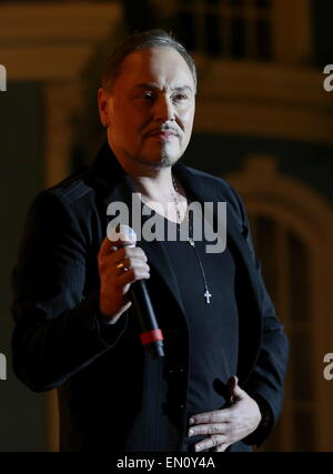 Moscow, Russia. 25th Apr, 2015. Knez, who is to represent Montenegro at the 2015 Eurovision song contest, performs - Stock Photo