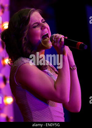 Moscow, Russia. 25th Apr, 2015. Maria Olafs, who is to represent Iceland at the 2015 Eurovision song contest, performs - Stock Photo