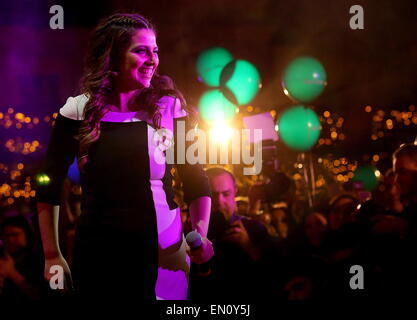 Moscow, Russia. 25th Apr, 2015. Amber Bondin, who is to represent Malta at the 2015 Eurovision song contest, performs - Stock Photo