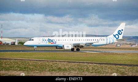 FlyBe Embraer ERJ190-200LR Arriving at inverness dal cross airport, Scotland.  SCO 9699. - Stock Photo