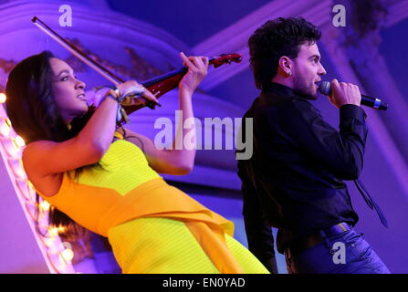Moscow, Russia. 25th Apr, 2015. Uzari and Maimuna, who are to represent Belarus at the 2015 Eurovision song contest, - Stock Photo