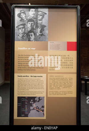 Melbourne, Australia. 24th Apr, 2015. Photo taken on April 24, 2015 shows an exhibition board of the 'Chinese ANZAC: - Stock Photo