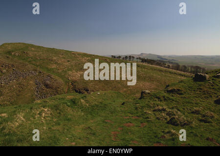 looking east from Walltown crags on Hadrian's Wall, northumberland - Stock Photo