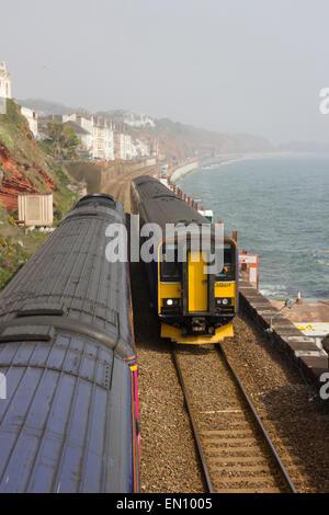 Dawlish, South Devon, railway engineering works on seafront - Stock Photo