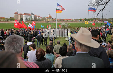 Torgau, Germany. 25th Apr, 2015. Guests and contemporary witnesses watch a ceremony entitled '70 years of Elbe Day' - Stock Photo