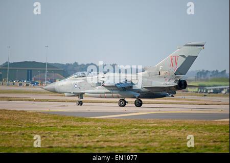 'Mac Robert's Revenge' 15 Squadron Tornado GR4 Bomber at RAF Lossiemouth.  SCO 9700. - Stock Photo