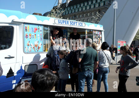 ice cream van in the complex of county hall and the london eye westminster london uk april 2015 - Stock Photo