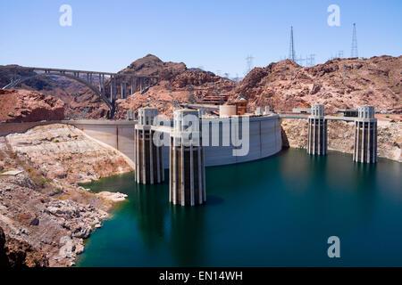 Hoover Dam from Arizona side - Stock Photo