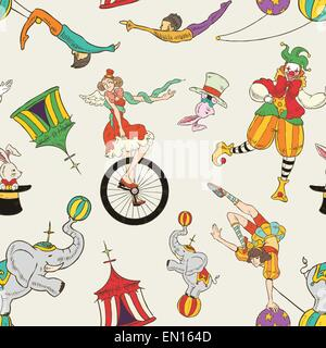 lovely circus collection seamless background isolated over grey - Stock Photo