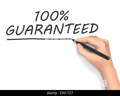100 percent guaranteed words written by hand on white background - Stock Photo