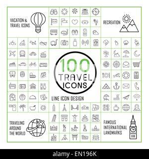 lovely 100 travel icons set over white background - Stock Photo