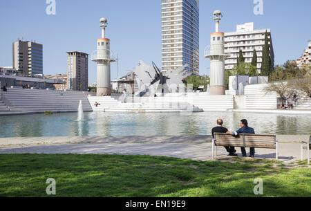 Parcde l'Espanya Industrial , Barcelona, Catalonia, Spain - Stock Photo