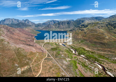 Berg River Dam and the Hottentots Holland mountains near Franschhoek in the Western Cape, South Africa. - Stock Photo
