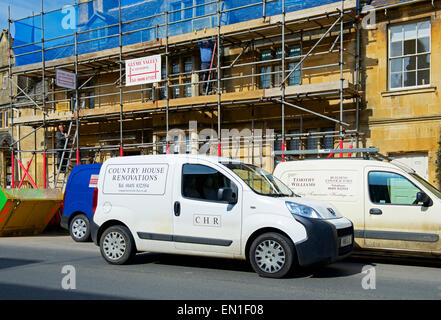 Town house being renovated, covered in scaffolding, Chipping Campden, Cotswolds, Gloucestershire, England uk - Stock Photo