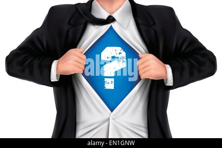 businessman showing question icon underneath his shirt over white background - Stock Photo