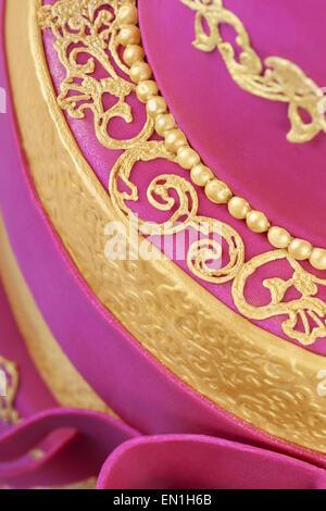 Delicious luxury ping wedding or birthday cake - Stock Photo