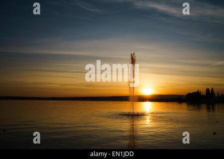 Sunset at Lake Zug in Switzerland. - Stock Photo