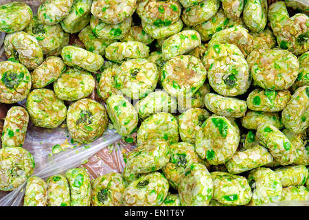 Some green italian pastry for sale at a bakery - Stock Photo