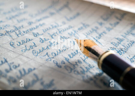 fountain pen over old letters. Stock Photo