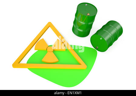 Green barrels with radioactive waste isolated on white background - Stock Photo