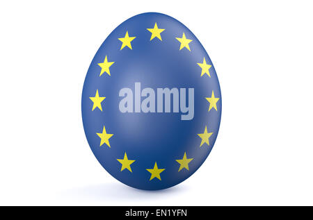 Easter egg with the flag of the European Union isolated on white background - Stock Photo