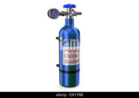 Nitrous Oxide System gas cylinder isolated on white background - Stock Photo