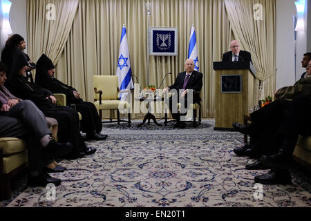 Jerusalem, Israel. 26th Apr 2015. Armenian Consul in Israel, TSOLAG MOMJIAN (R), addresses the President of the - Stock Photo