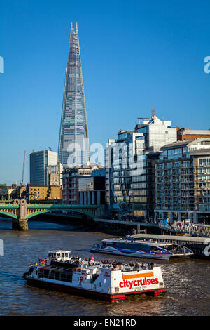 City Cruises River Boat and Thames Clipper, River Thames, London, England - Stock Photo