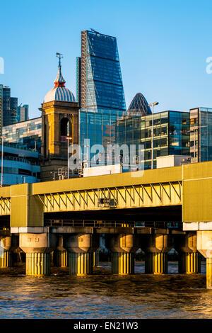 Cannon Street Railway Bridge and The City of London Skyline, London, England - Stock Photo