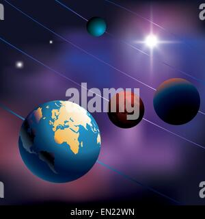 Night sky with planets. Vector illustration - Stock Photo