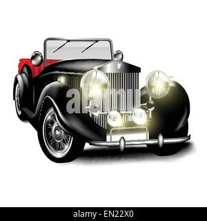Black retro car isolated on white background. Vector illustration - Stock Photo