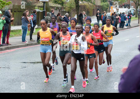 Runners take to the streets of London to compete in the 2016 Virgin Money London Marathon - Stock Photo